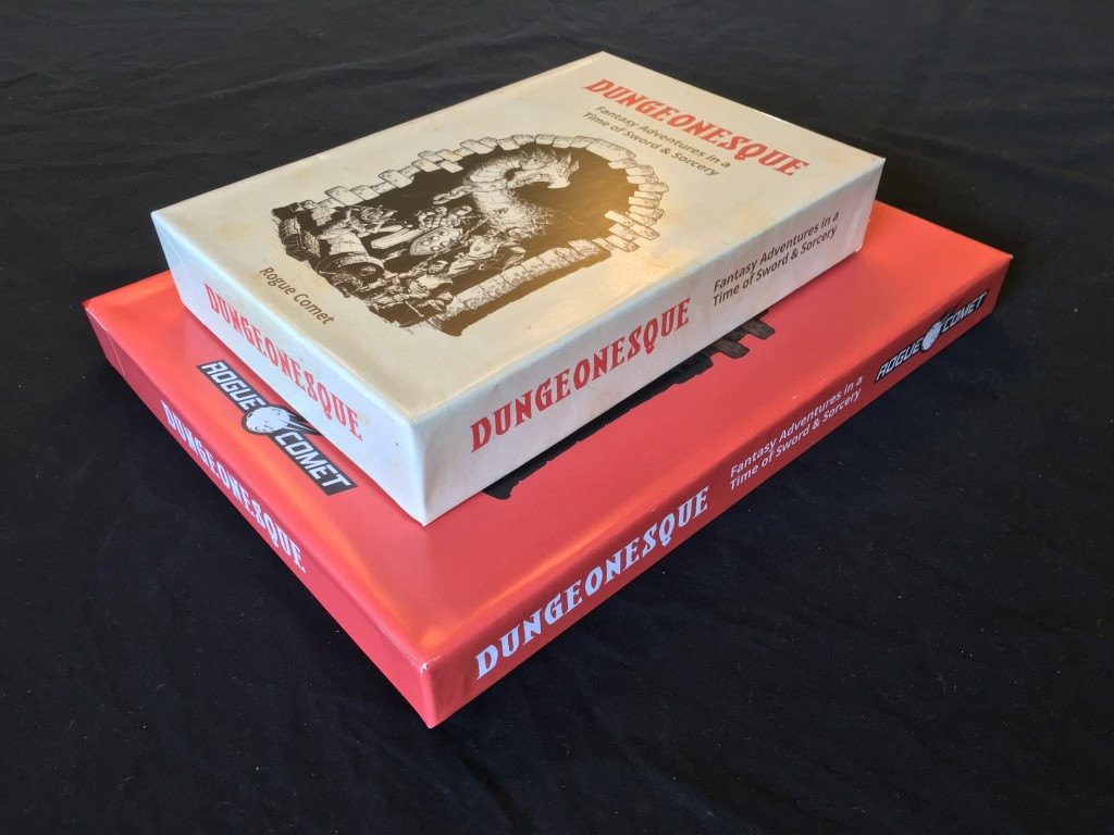Mockup of Upcoming Dungeonesque RPG Red and White Box Sets