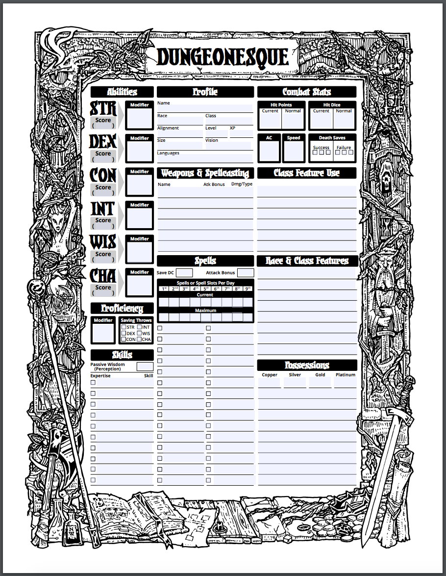 Dungeonesque Character Sheet
